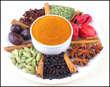 Bilde av ayurvedisk mat, curry i forskjellige former.