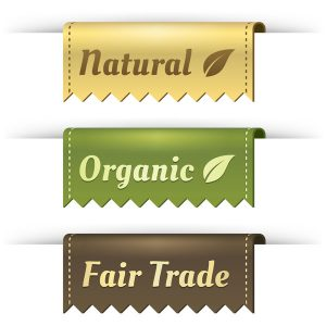 Natural, organic and fair trade sign.